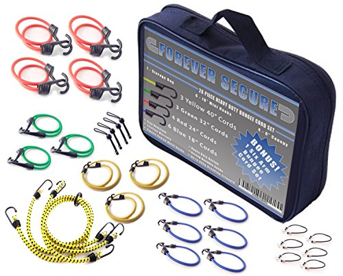 Assorted Bungee Cords (Bungee Cords for Carry On Luggage and Truck Bed Storage | Multiple Length Assortment Set w/ Canopy Ball Ties | 26 Piece Heavy Duty Metal Hook Cargo Tarp Straps by Forever Secure)
