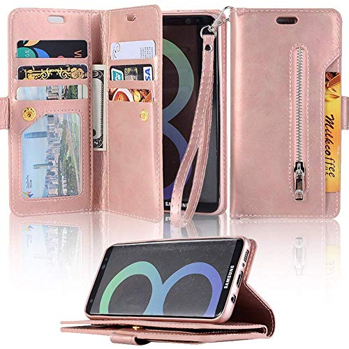 - for Samsung Galaxy S10e Wallet Case LAPOPNUT Luxury PU Leather Flip Case Dual Folio Card Slot Sleeve Housing with Wrist Strap Magnetic Stand Case Cover for Samsung Galaxy S10e Rose Gold