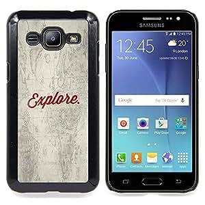 """Qstar Arte & diseño plástico duro Fundas Cover Cubre Hard Case Cover para Samsung Galaxy J2 / J200 (Explora Antiguo Mapa Escolar"""")"""