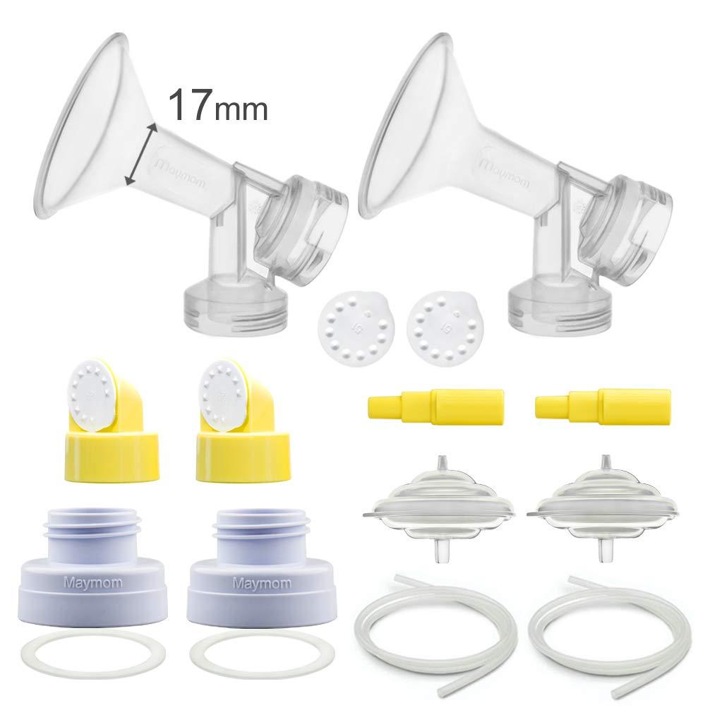 Maymom Pump Parts for Spectra S1, S2, 9 Pump; Incl Flange, Valves, Backflow Protecor, Bottle Changer (Flange 17 mm, Kit n Bottle Converter Tubing)