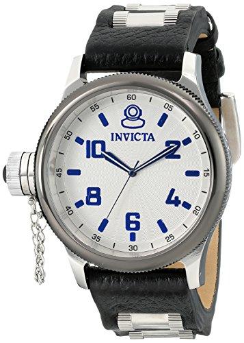Invicta Men's 10471 Russian Diver Silver Dial Black Leather Watch