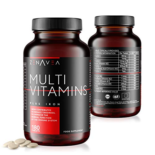 Zenavea – 180 Multivitamins Biotin and Minerals Food Supplements with Iron Suitable for Vegetarians – Made in UK…
