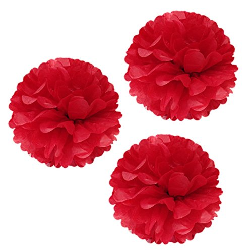 Unique Industries 16 Poms Large Fluffy Pom Pom Hanging Decorations Tissue Paper Pom Flowers For Celebrate Decoration Fluffy Hanging Lantern Party/Wedding Blooms Ball (Red 3ct)