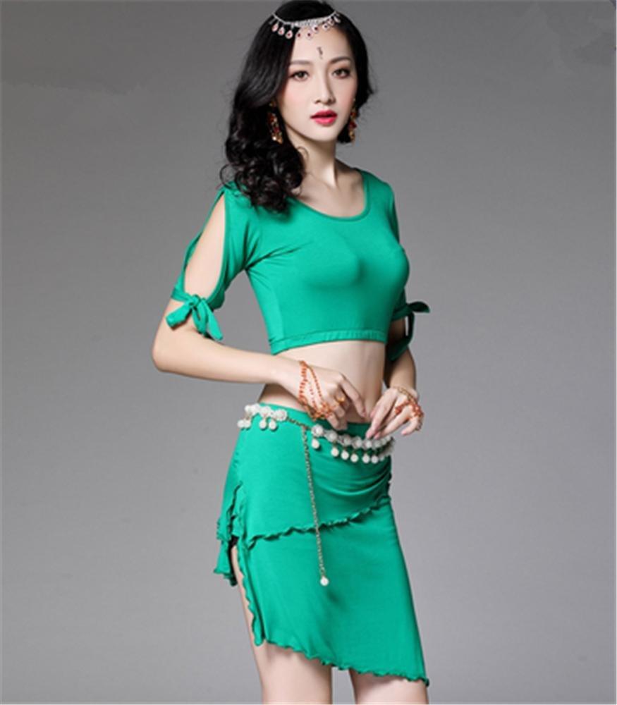 Vert peiwen vêtements de Formation de Danse du Ventre de la Femme Costume   2 pièces Couleur Plus L
