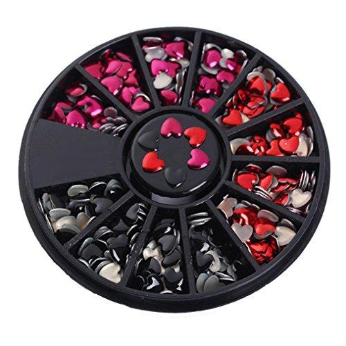 Tips Decoration Glitter Rhinestone Wheel (DDLBiz 3D Nail Art Love Heart Rhinestones Glitter Acrylic Tips Decoration Wheel (black))