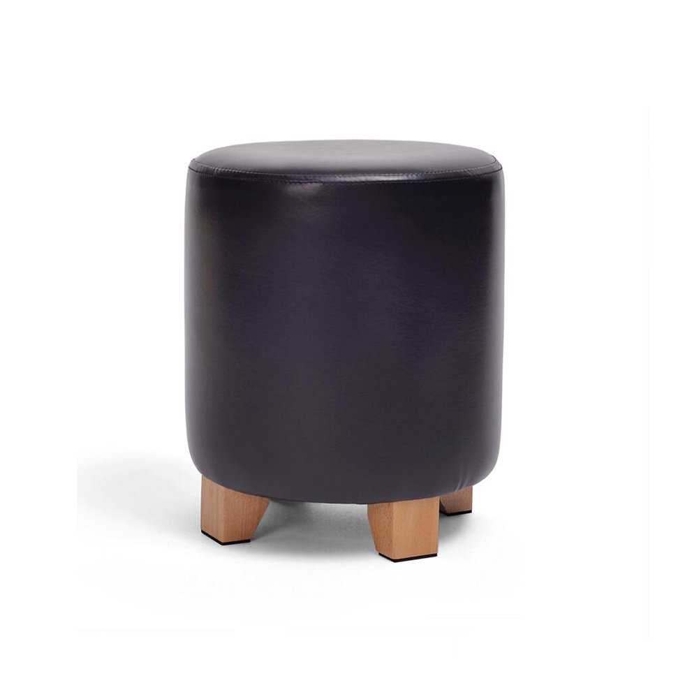 Black XUERUI Sofa Stool Round PU Soft Cushion Wooden Legs shoes Stool Strong and Durable H30  W29 Strong Stability (color   Beige)