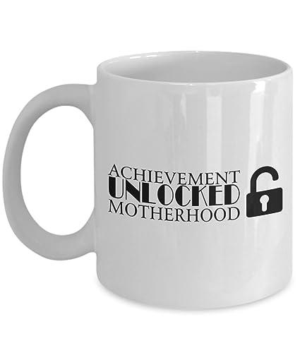 Achievement Unlocked Motherhood Mug 11 Oz Ceramic White Coffee Mugs Best New Mom Tea