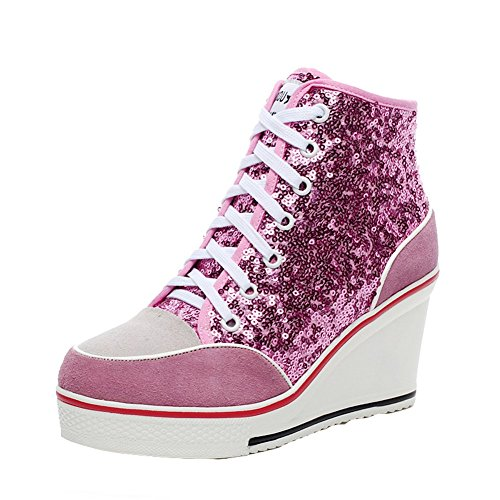 Baskets Tennis Rouge Sneakers Casuel Mode Compensées Toile Chaussures Paillette Femme ZvwZxI4