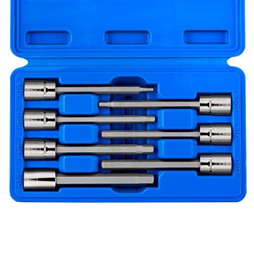 Neiko 10072A 3/8-Inch Drive Extra Long SAE Hex Bit Socket Set, 7 Piece |3mm - 10mm, S2 Steel -