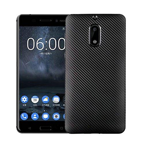 Funda Nokia 6 - Simple Moda Delgado Suave Cáscara Silicona Cubierta Posterior Carcasa y Fibra de Carbono Diseño Funda para Nokia 6 - Negro Negro