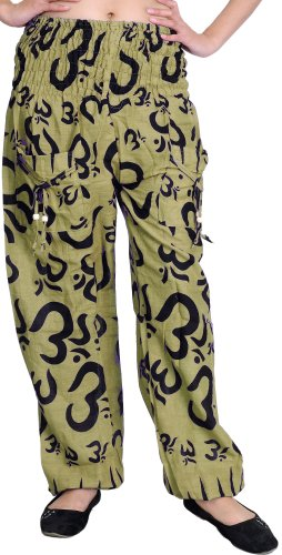 Ecru Olive - Exotic India Yoga Casual Trousers with Printed Om - Color Ecru Olive
