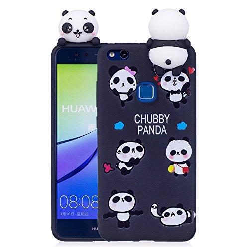 DAMONDY Huawei P10 Lite Case, 3D Cute Cartoon Animals Pattern Soft Silicone Gel Slim Design Rubber Thin Protective Cover Phone Case for Huawei P10 Lite (2017)-Black Panda