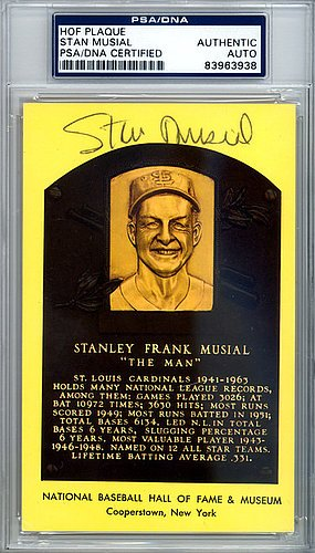 Stan Musial Signed HOF Plaque Postcard - Certified Genuine Autograph By PSA/DNA (Stan Musial Merchandise)