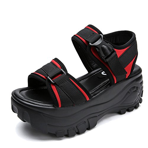 Calzado negro Romanos Chanclas De Rojo Cm Antidérapant Femenino Fei Las Verano Sandalias Universidad Deportivo Estudiantes La Zapatos Sexo 7 Espesor rojo OqUccwd7