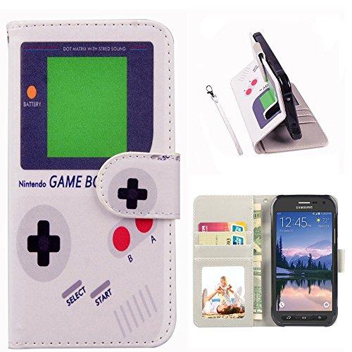UrSpeedtekLive S6 Active Case, Galaxy S6 Active Wallet Case, Premium PU Leather Flip Wristlet Wallet Case Cover for Samsung Galaxy S6 Active- Game Boy Pattern (NOT for Galaxy ()