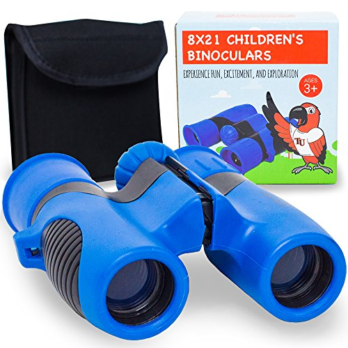 (Binoculars for Kids by Tyke U - Clearest Images and Best Views Available for Children's Binoculars - 8x21 Compact Kids Binoculars with Safety Strap and Carrying)