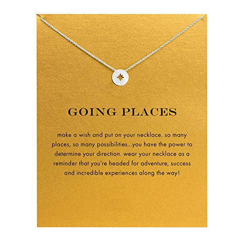 - Spiritlele Stainless Steel Engraved Compass Pendant Necklace with Message Card for Women Girls