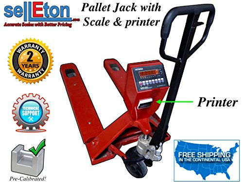 Pallet Truck Scale - Selleton Industrial Warehouse Pallet Jack Scale with Label Printer 5000 Lb Capacity