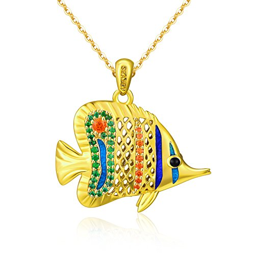 SEAPET Coral Butterflyfish Pendant Necklace Handmade Ocean Jewelry, 3D Hollow 18K Gold Plated