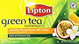 Lipton, Green Tea Bags, Superfruit Decaf, Jasmine Passionfruit with Citrus, 20 Count, 0.9oz Box (Pack of 3)