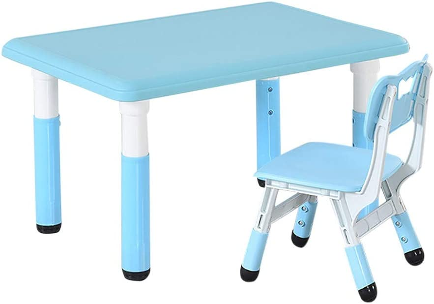 Home Desktop Computer Desk Bedroom Laptop Study Table Office Desk Workstation,Large Office Desk Computer Table,Easy to Assemble (Kid Table with Chair Blue)