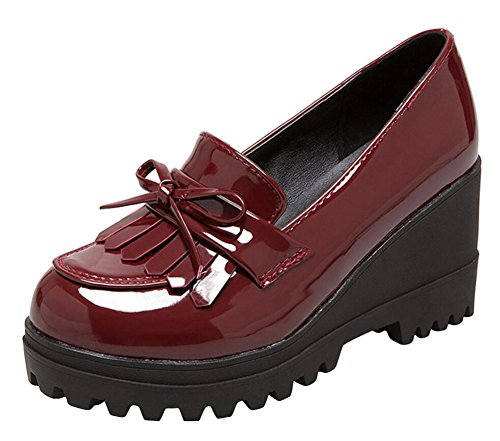 Wedge Oxfords Shoes for Women, Girls Tassels Lolita Cosplay Japanese School Uniform Dress Shoes Heel Platform Loafers Red,8.5 (Red Japanese School Uniform)