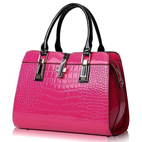 Women's Tote Top Handle Handbags Crocodile Pattern Leather Cross-body Purse Shoulder Bags (Fushia)