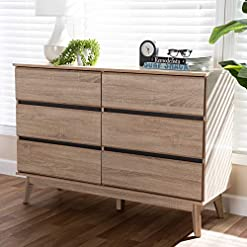 Bedroom Baxton Studio Miren Mid-Century Modern 6-Drawer Dresser