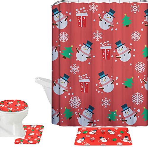 HUGS IDEA Christmas Tree Snowman 16 Piece Waterproof Shower Curtain Set Bath Mat Sets Contour Rug Toilet Cover Polyester Fabric Curtain with 12 Hooks