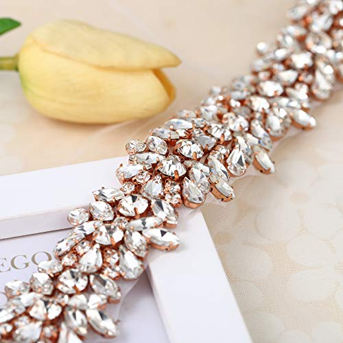 FANGZHIDI Luxury Bling Crystal Rhinestone Applique Trims 1 Yard for Bridal Belt-1 Yard(1.26