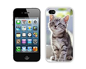 Personalized Hard Shell Cute Christmas Cat Iphone 4s,Apple Iphone 4s White TPU Cover Case