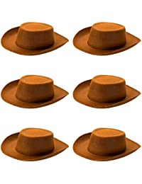 6-pack Cowpoke Hat Halloween Costume Accessory - Dress Up Theme Party Roleplay & Cosplay Headwear