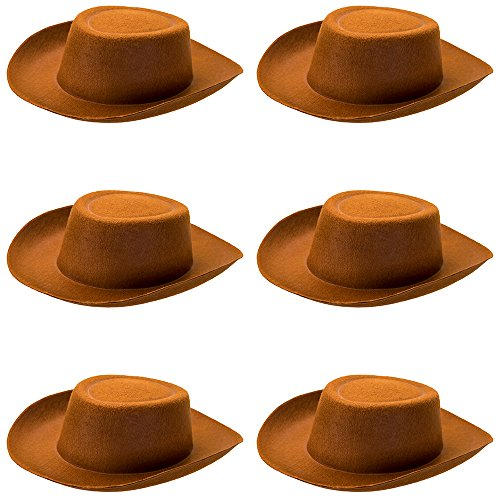 Herdsman Costume - 6-pack Cowpoke Hat Halloween Costume Accessory - Dress Up Theme Party Roleplay & Cosplay Headwear