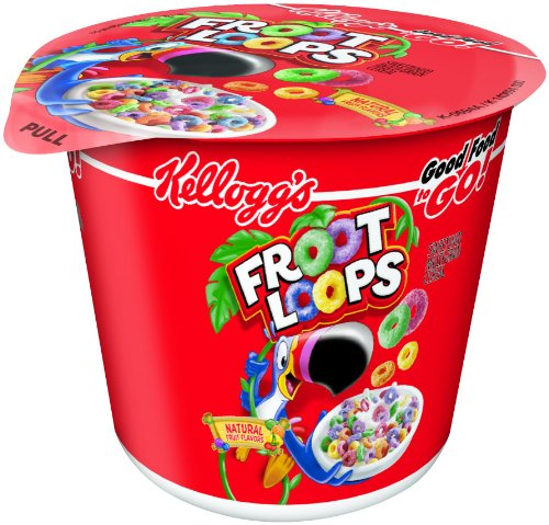 Froot Loops Kellogg's, Breakfast Cereal in a Cup, Original, Low fat, Single Serve, 1.5 oz Cup(Pack of 60) -