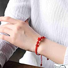 Red cinnabar lacquer carving evil women girls red string bracelet anklet handmade bridal jewelry safely Roses reunion