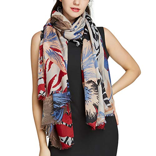 Big Neck Scarfs for Women - Long Flower Design Shawl Scarf Fall Viscose Large Scarf Butterfly (Brown 301) - Brown Scarf Viscose