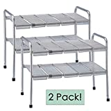Set of Two, 2-Tier Expandable Adjustable Under Sink Shelf Storage Shelves Kitchen Organizer