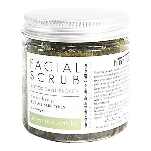 All Natural Green Tea Detox Face Scrub | 100% Organic Facial Scrubs | Exfoliate, Hydrate, Moisturize All Skin Types | For Blemishes & Blackheads, and the Best Exfoliating Sugar - By Honey Belle ()
