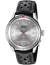 Mens Artix GT Swiss Stainless Steel and Leather Automatic Watch, Color:Black · Oris