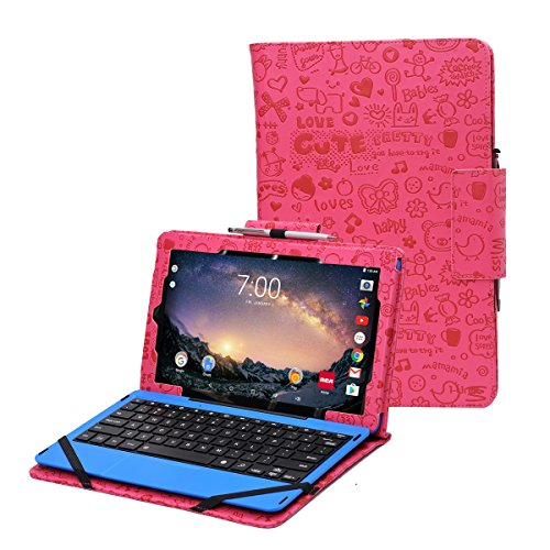 "RCA Galileo Pro 11.5 case by i-UniK Compatible RCA Galileo Pro 11.5"" Model #RCT6513W87DKC Tablet with Keyboard Case [Bonus Stylus] (Cute Pink)"