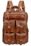 ALTOSY Genuine Leather Backpack Men Vintage Travel Casual School Bag 6827 (Light Brown)