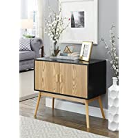 Convenience Concepts Oslo Storage Console, Wood Grain/Gray/Black