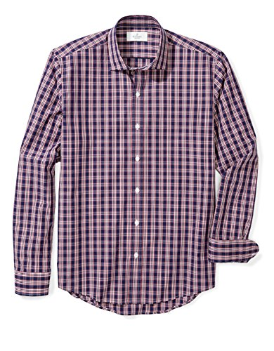 Buttoned Down Men's Slim Fit Spread-Collar Pattern, Navy/Red Plaid, XL 34/35