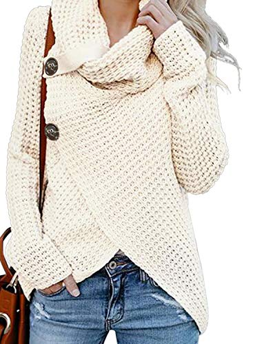 Asvivid Chunky Turtle Cowl Neck Pullover Sweater for Womens Thick Big Button Asymmetric Wrap Knitted Sweaters Jumper S Cream