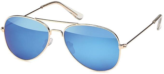 Pilotenbrille für Kinder aus Edelstahl Aviator in 3 Farben - UV 400 Filter und CE-Prüfzeichen (Gläser: grün verspiegelt) VkyU9