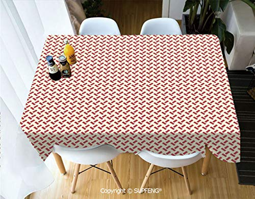 Square tablecloth Rounded Small Shapes Conceptual Herringbone Pattern Design Minimalist Maze Inspired (60 X 84 inch)Great for Buffet Table, Parties, Holiday Dinner, Wedding & More.Desktop decoration.P
