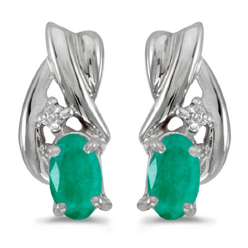 Jewels By Lux 10k White Gold Studs Genuine Green Birthstone Oval Emerald And Diamond Earrings (1/3 Cttw.) ()