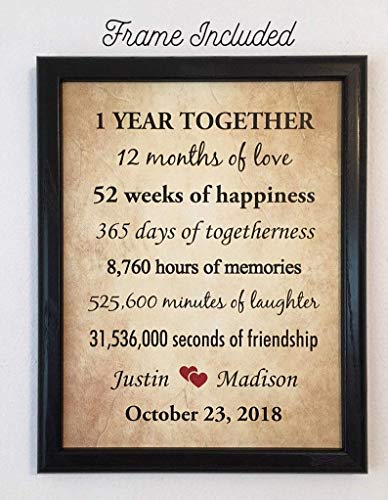 Amazon Com Framed 1st Anniversary Gifts For Couple 1 Year