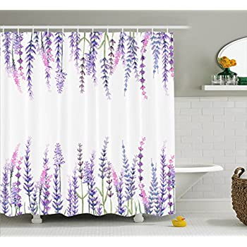 Ambesonne Purple Decor Collection Lavender Plants Aromatic Evergreen Shrub Of The Mint Family Nature Oils Country Style Print Polyester Fabric Bathroom