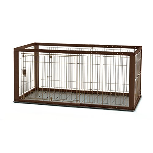Richell Expandable Pet Crate with Floor Tray, Medium, Dark Brown